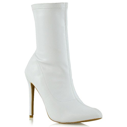 ESSEX GLAM Womens Stretch High Stiletto Heel Ladies Pointed Toe Ankle Boots Shoes Size 3-8 White tLH5Lmiv2f