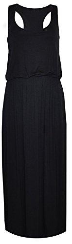 [Women's Toga Long Vest Maxi Puff Ball Ladies Dress Plus Size (XXL UK 20-22 US 16-18, Black)] (Black Toga Dress)