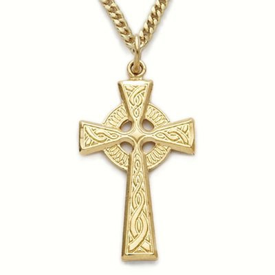 TrueFaithJewelry 10K Gold Filled Engraved Celtic Knot Cross Pendant, 1 1/8 Inch