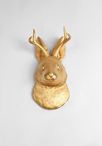 Gold Rabbit (The Corduroy | Metallic Gold Faux Jackalope Wall Mount. Jackrabbit & Deer / Antelope By White Faux Taxidermy)