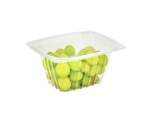 Dart C16DCPRW, 16-Ounce ClearPac Clear Rectangular Plastic Container With A Flat Lid, Take Out Deli Fruit Food Disposable Containers (50) Container Flat Lid