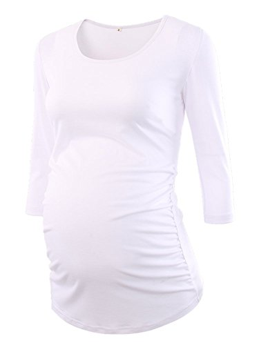 BBHoping Women's Side Ruched 3/4 Sleeve Maternity Scoop Neck Jersey Top Pregnancy Clothes White
