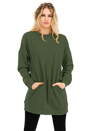 (Casual Loose Fit Long Sleeves Over-Sized Crew Neck Sweatshirts Army Green 2X)