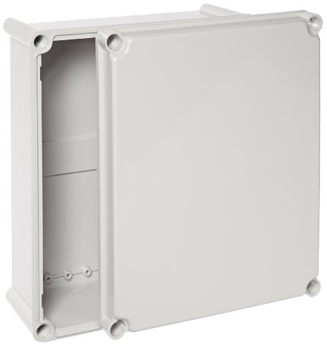 BUD Industries NBD-15449 Style D Plastic Outdoor Box with Solid Door, 13-13/32'' Length x 11-3/64'' Width x 5-7/64'' Height, Light Gray Finish by BUD Industries
