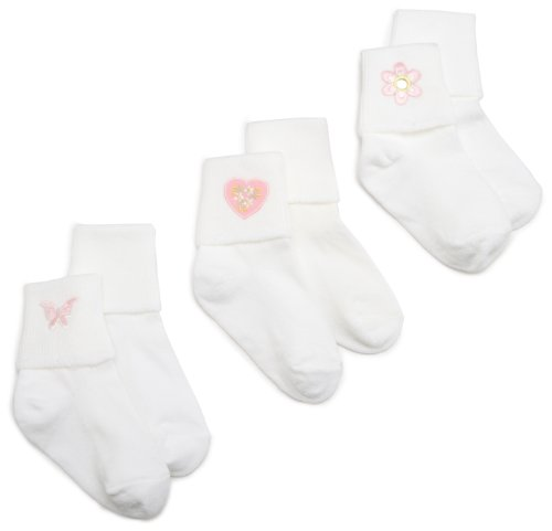 Jefferies Socks Baby Girl Collection Appliques, 3 Pack, White