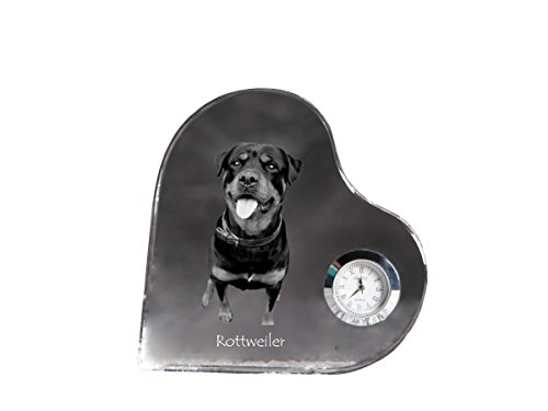 Rottweiler, heart shaped crystal clock with an image of a ()