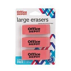 Office Depot Beveled Erasers, Pink, Pack Of 3, BG179487