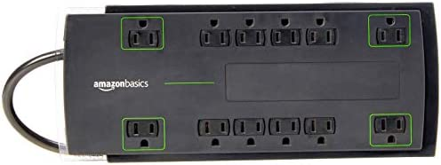 AmazonBasics 12-Outlet Power Strip Surge Protector | 4,320 Joule, 8-Foot Cord