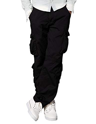 Black Street Pant - Match Men's Straight Leg Loose Fit Cargo Pants(30,6067 Black)