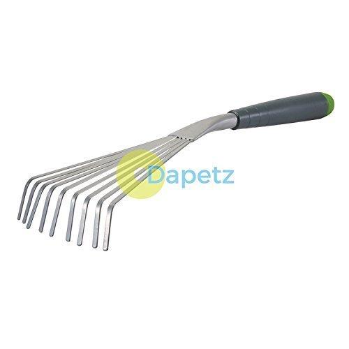 Dapetz ® Hand Shrub Rake 390mm Gardening Tool Corrosion-Resistant Nine-Teeth Fan Rake