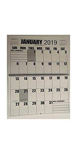 "Jumbo Large Print 2019 Wall Calendar 13-Months, 17"" x 11"", or Hanging it is 17"" x 22"""