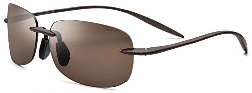 FONEX TR90 Rimless Polarized Sunglasses for Men with Square Mirror Nylon Lens 736 (Brown, Tea) (Men Polarize Sunglasses)