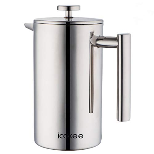 Icokee French Press Coffee Maker, 34oz/1000ml Double Wall Stainless Steel 18/10 Cafetiere,French Press Set, Tea Maker, Teapot, with Coffee Measuring Scoop,2 Stainless Steel Honey Spoons and 2 Extra Screen Filter