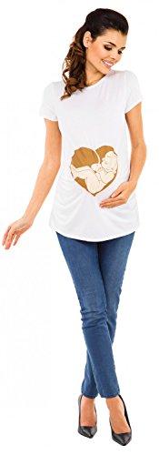 Zeta Ville - Camiseta Premamá T-shirt estampado bebé corazón para mujer - 508c Blanco