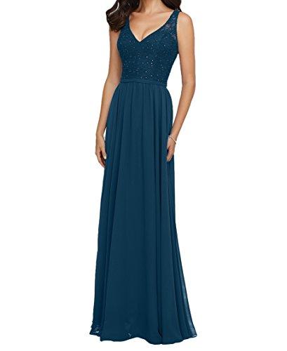 Blau Brautjungfernkleider Tinte Ausschnitt Ballkleider mia Navy Abendkleider V Dunkel Rock Damen Spitze Lang Blau La Braut qIzxfwqA