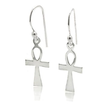 Silver Sterling French Cross (Egyptian Cross Ankh of Life Sterling Silver Hook Earrings)