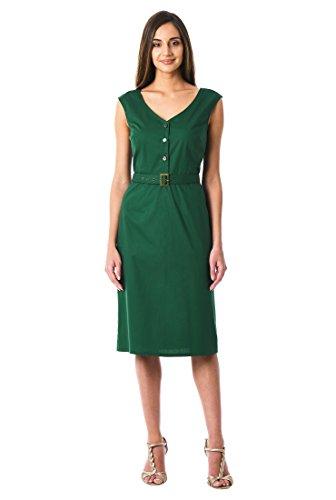 eShakti Women's Cotton Poplin Belted Sheath Dress 1X-16W Short Primordial Forest ()
