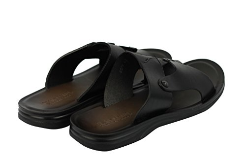 Slide Beach Real XPOSED Sandals Flip Black Mules Leather Black Flop Brown Holiday Summer Mens XUqzT