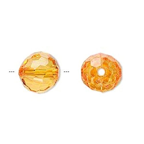 (100 Grams Acrylic Amber Orange 12mm Faceted Round Beads Perfect for Earrings, Necklaces or)