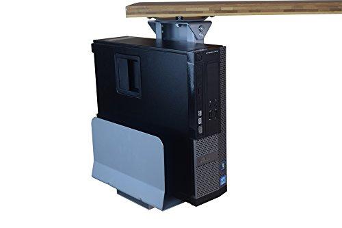 Adjustable Swivel Under-Desk CPU Holder / Under Desk PC Tower Stand / for standing office desks (Gray)
