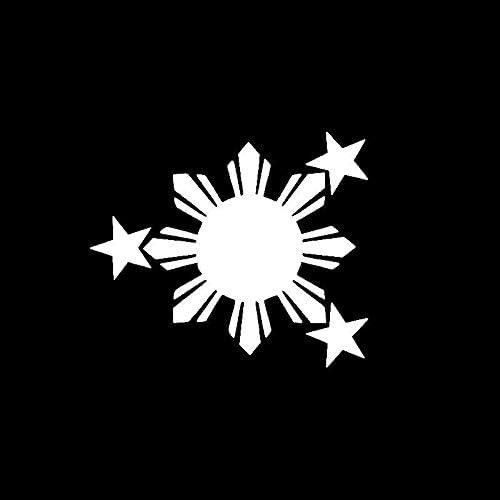 Stukk Stickers Vinyl Aufkleber Motiv Philippine Sonne Mit Sternen 14 6 X 12 3 Cm Weiß Auto