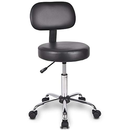 Swivel Chair Office Chair Rolling Swivel Stool with Backrest and Multi-Purpose Adjustable Spa Bar Stool with Wheels in Black