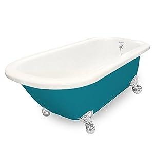 durable service American Bath Factory T060A-CH-BP & DM-7 Maverick 67 in. Bisque Acrastone Tub & Drain44; Chrome Metal Finish44; Small