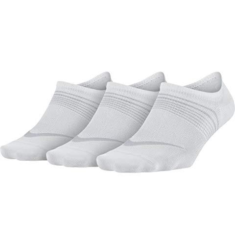 Nike Womens Performance Lightweight Training Footie 3 Pair, White, Medium