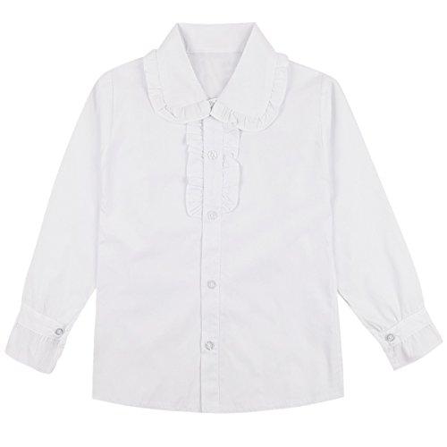YiZYiF White School Uniform Tops Long/Short Sleeve Ruffle Collar Blouse For Little or Big Girls Long Sleeve (Girls Long Sleeve Ruffled Blouse)
