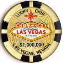 "(24 7/18) LM Las Vegas Magnet 1 Million Gold Poker Chip 2.5"" Across Very Large Silver Dollar Size) With Copyrighted LV Magnet"