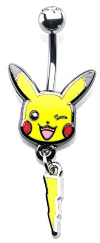 Dangling Button Earrings (Pokemon Pikachu Lightning Bolt Dangle Charm 14g 7/16 Stainless Steel Navel Ring)