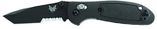 Benchmade Pardue Design Mini-Griptillian Combo Edge Knife with BK1 Coated Blade and Black Valox Handle, Outdoor Stuffs