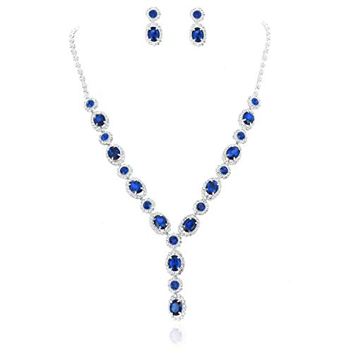 - SP Sophia Collection Fancy Double Halo Y Jewelry Oval Drop Necklace and Earrings Set in Silver Royal Blue