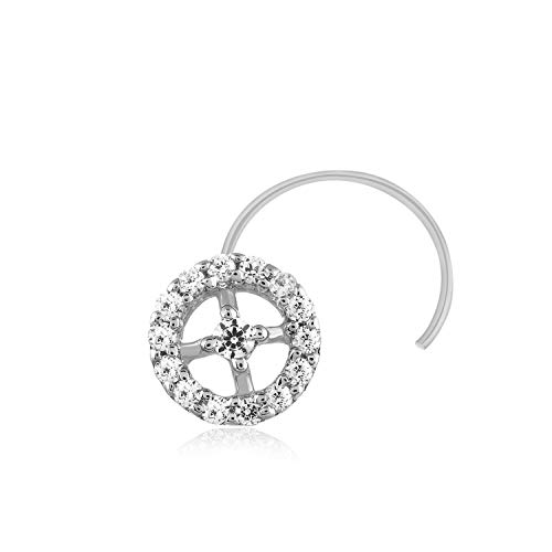 - Carats For You 0.07ct Round Shape Genuine Real Natural Diamond 925 Sterling Silver Circle Nose Ring Stud Pin for women