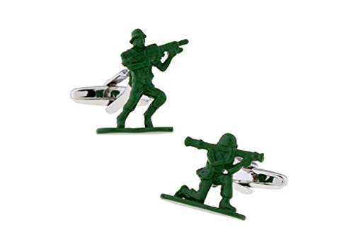 MRCUFF Army Men Green Soldier Rifle Pair of Cufflinks in a Presentation Gift Box & Polishing Cloth