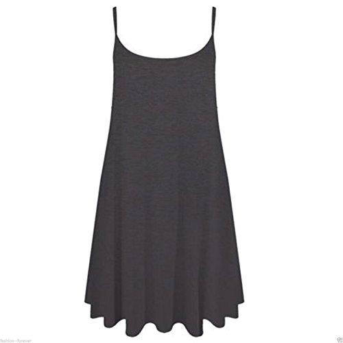 Pour Femmes Uni Swing Évasé Cami À Bretelles Décontracté Gilet Robe Grandes tailles - Charbon, Femme, L/XL(EU 44-46)
