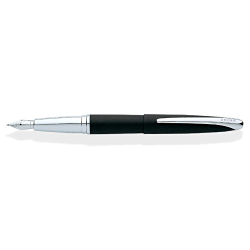 Cross ATX Basalt Black Fountain Pen with Chrome-Plated Appointments and Stainless Steel Fine Nib