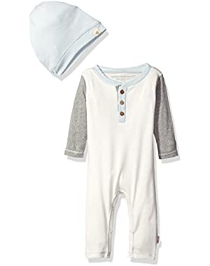 Boys' Organic Henley Coverall + Slouchy Hat