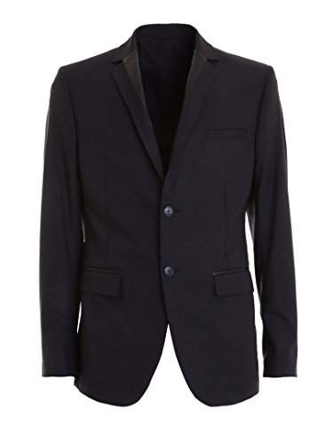 NEW VERSACE COLLECTION BLACK FAUX LEATHER TRIM 2 BTN BLAZER JACKET IT SIZE: - New Versace Collection