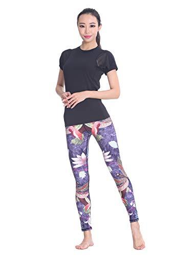 (MUMUWU Women Yoga Pants Printed High Waist Power Flex Capris Workout Leggings for Fitness Running Purple Dragonfly Lotus S)