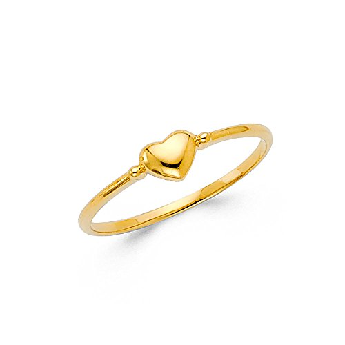 Paradise Jewelers 14K Solid Yellow Gold Small Heart Band Fancy Ring, Size 7 by Paradise Jewelers Ring Collection