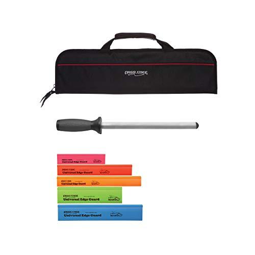 Series Edge Diamond (Ergo Chef Professional 5 Pocket Knife Roll Bags, Ergo Chef 5 Piece Universal Knife Edge Guard set and Ergo Chef Pro Series 10 inch Diamond Sharpener)