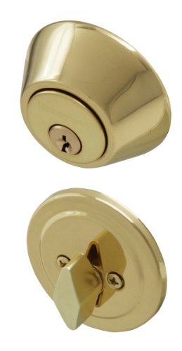 Honeywell 8111009 Single Cylinder Deadbolt, Polished (Exterior Single)