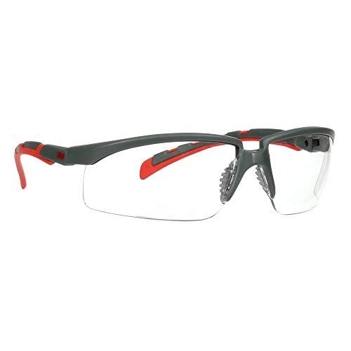 3M Safety Glasses, Solus 2000 Series, ANSI Z87, Scotchgard Anti-Fog Anti-Scratch, Clear Lens, Gray/Red Frame