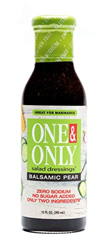 One&Only Balsamic Pear Salad Dressing, 12 fl.oz., No Sugar Added Keto Salad Dressing and Marinade, Only Two Ingredients, Made with non-GMO Ingredients, Gluten Free, Vegan, Zero Sodium.