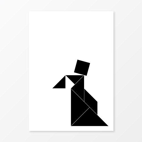 Tangram Woman Portrait Print, Size A3, 200 gsm Poster Paper, Frameless, Girls Room Decor, Nursery Wall (W Hotel Halloween Event)