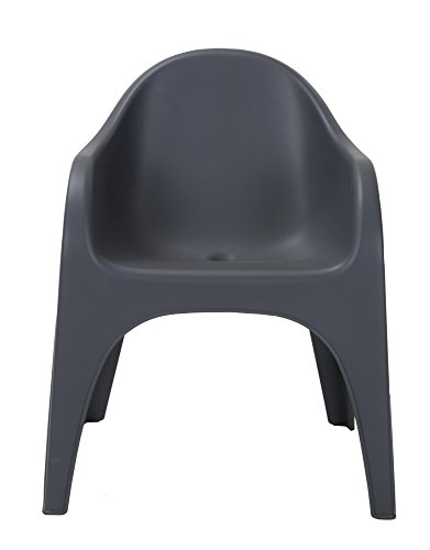 COSCO Commercial Molded JUGA Chair Designed by Karim Rashid, Indoor, Outdoor Stacking, Gray, 2 pack