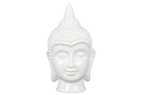 Buddha Statue Ceramic Head (Urban Trends Ceramic Buddha Head with Pointed Ushnisha, 40