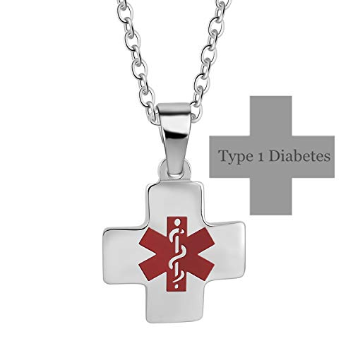 Murinsar Personalized Custom Stainless Steel Cross Medical Alert Necklace for Men Women Alarm Awareness ID Tag Pendant Free Engraving
