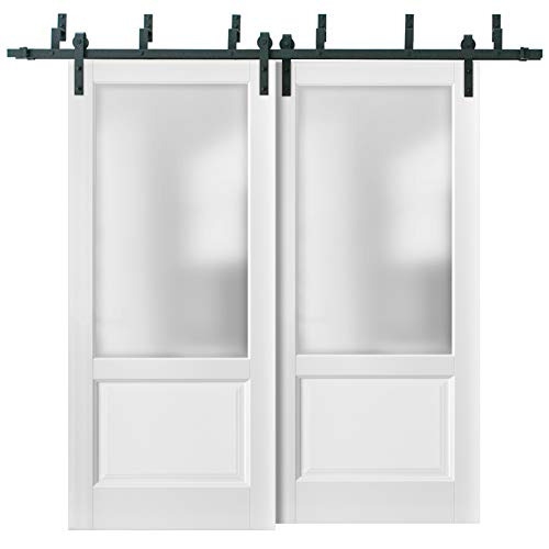 Barn Bypass Doors 84 x 96 with 6.6ft Hardware | Lucia 22 Matte White with Frosted Opaque Glass | Sturdy Heavy Duty Rails…